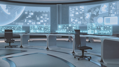 Turning chaos into order in the central control room barco for Futuristic control room