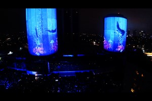 Video projection with Akmerkez Shopping Center towers backdrop