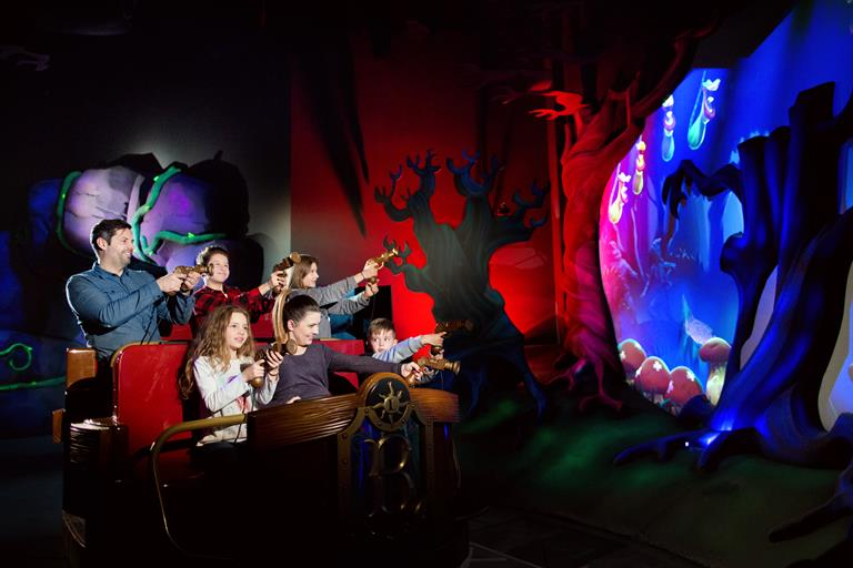 Alterface designs custom dark ride Basilisk using Barco projectors
